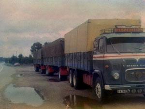 Scania med 2 släp, sent 60-tal
